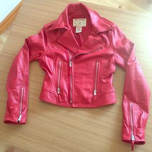 100% Lambskin Moto Jacket fully lined in RED